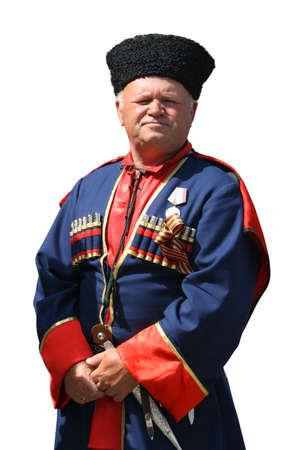 papakha: Old Kuban Cossack in national wearing (Isolated) Stock Photo