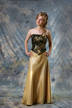Beautiful Blond Girl with in black dress Stock Photo