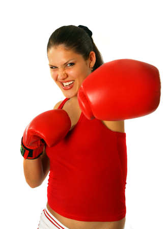 Sexy brunette girl with red boxing gloves photo