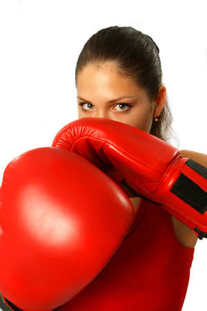 Sexy brunete girl with red boxing gloves Stock Photo - 1777288