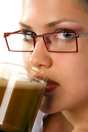 Beauty Girl drink coffee from mug photo