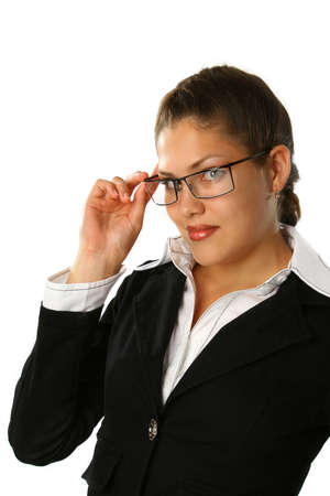 Beautiful Business woman with glasses in black suite Stock Photo - 1777291