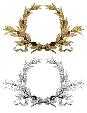 Wreath with gold leafs red berries Vector