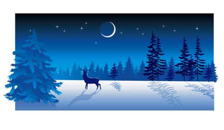 silhouette arbre hiver: Carte de No�l avec soir�e d'hiver en bleu ton
