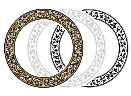 circular silhouette: Vicrtorian Style Golden Round Frame