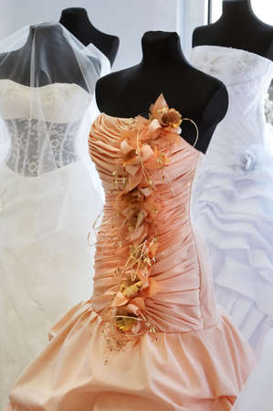 Orange Evening dress with floral elements
