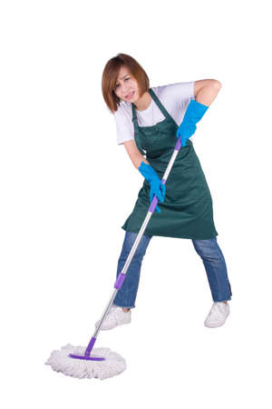 Young Asian housewife cleaning floor with mop