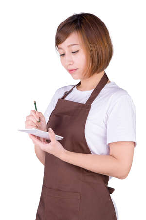 Asia waitress take order from customer in coffee shop, cafe owner writing drink order , Food and drink business concept, Service mind concept