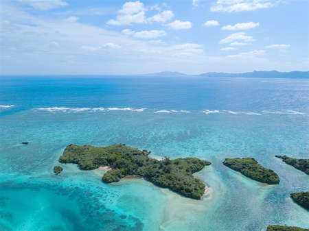 Aerial view of Kabira Bay, Ishigaki Island, Okinawa, Japan