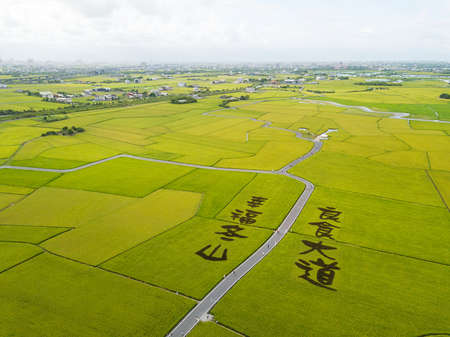 Aerial view of the Paddy Art in Brown Boulevard, DonShan, YiLan, Taiwan. The words on the ground means