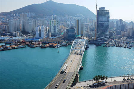 Landscape of Busan Port, South Korea.