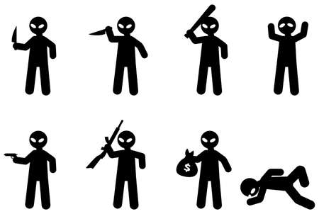 Cartoon icons of bad guy
