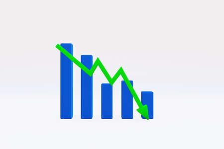Representación 3D: gráfico con tendencia a la baja, flecha apuntando hacia abajo en el gráfico de barras, ilustración 3D Foto de archivo