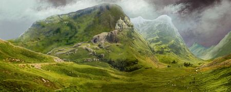 valley: A castle sits high on a mountain overlooking a lush valley.