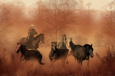 A cowboy drives a herd of horses back to the corral.