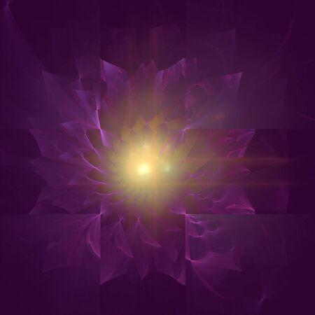 菊の花を表す抽象フラクタル デザイン コンセプト。