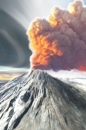 earthquake crack: A volcano spews smoke and ash in this digital painting.
