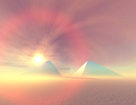 chephren: Fantasy painting of the Pyramids in Egypt. Stock Photo