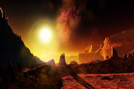 alien planet: HELIOS Stock Photo