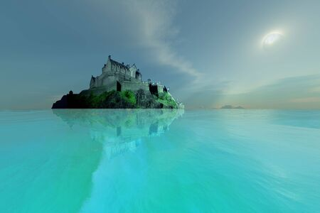 realm: A castle overlooks crystal clear seas. Stock Photo