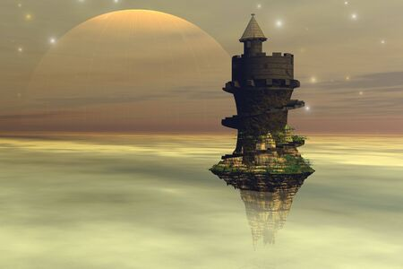 A fantasy castle hovers in the cloud layers of a planet. Banque d'images