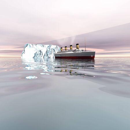 The beautiful ocean liner near icebergs in the north Atlantic ocean. Stock Photo