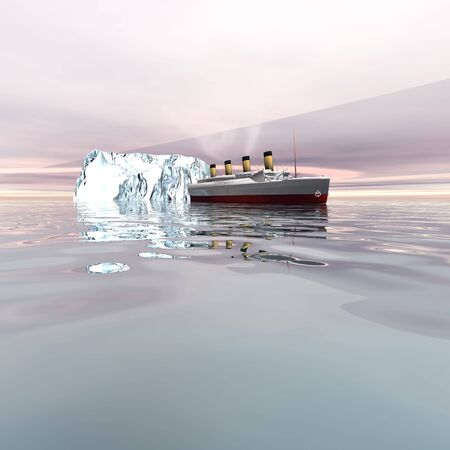 The beautiful ocean liner near icebergs in the north Atlantic ocean. Stock Photo