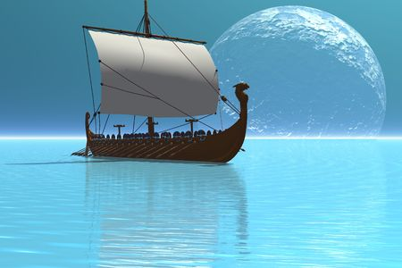 norse: Beautiful glistening waters of the ocean show off this viking ship at night. Stock Photo