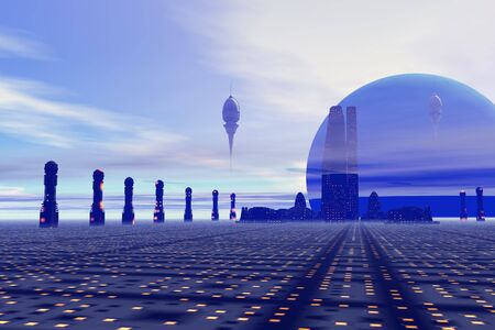 Futuristic city on a planet at the edge of the Milky Way. photo