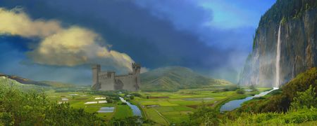 fantasy castle: A wonderful valley full of beauty. Stock Photo