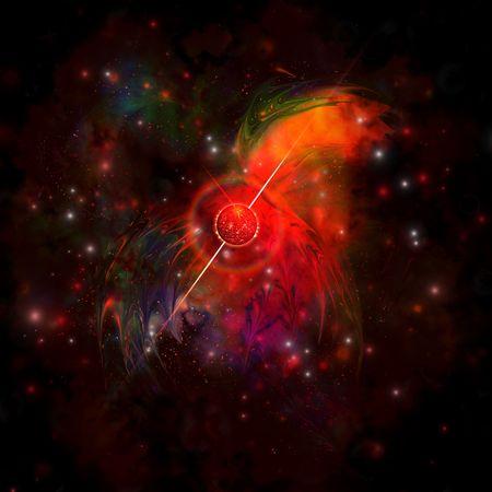 A pulsar star radiating strong beams of light.