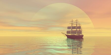 starboard: A clipper ship sails on golden seas.