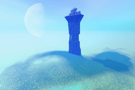 A palace sits on a tower as a lookout post for this fantasy kingdom. Banque d'images