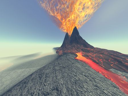 magma: A volcano comes to life with fire, smoke and lava.