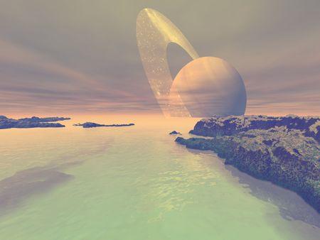 Het landschap van Titan, een van de manen van Saturnus. Stockfoto