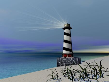A lighthouse sends out a light to warn vessels. photo