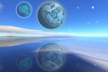 hover: Nearby planets hover over the ocean on this world. Stock Photo