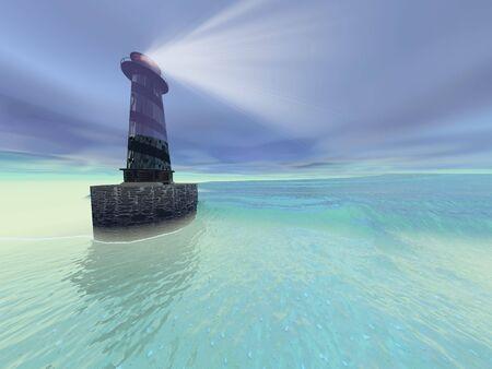 settles: Low fog settles down on a lighthouse near the coast. Stock Photo
