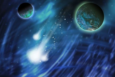 clouds scape: Three comets blaze a trail near a planet and its moon.