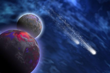the past: Two bright comets shoot past a planet and its moon.