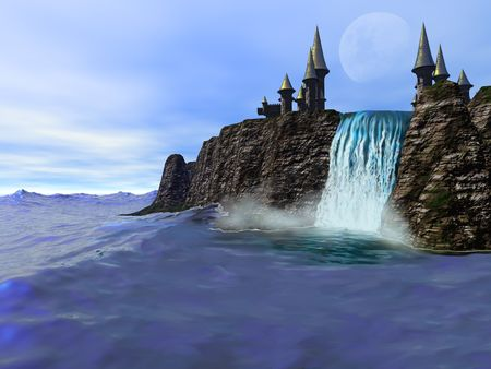 A beautiful waterfall meets the deep blue ocean in this fantasy castle image. photo