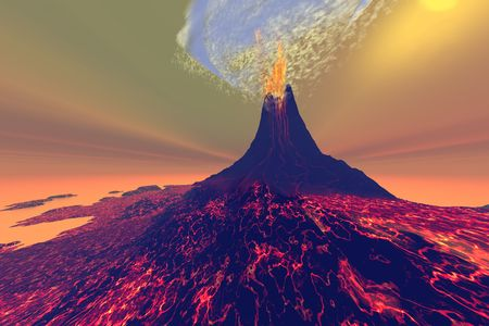 earthquake crack: A volcano erupts with smoke, fire and lava. Stock Photo