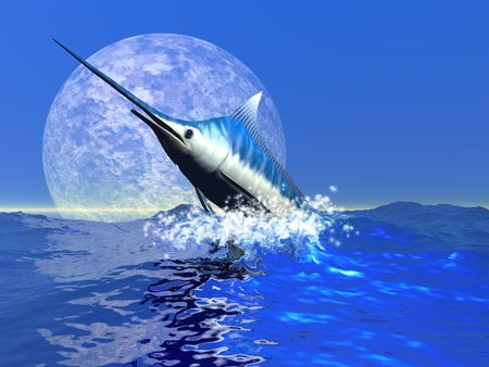 A blue marlin bursts from the ocean in a great splash. Stock Photo