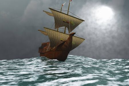 ketch: A sailing vessel navigates the ocean waves in stormy weather.