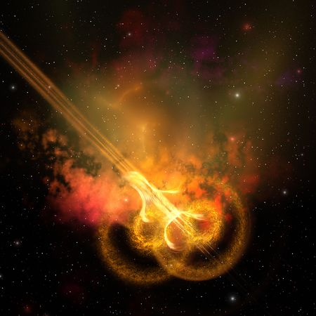 spacial: Stars and gasses collide to form this spacial phenomenon.