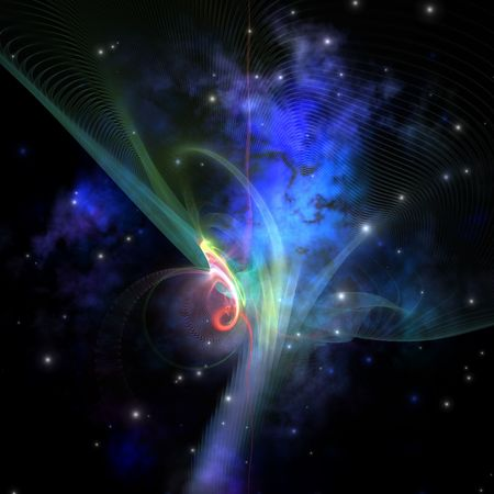gaseous: Cosmic strands of gaseous filament out in space. Stock Photo