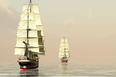 embark: Two clipper ships sail on calm ocean waters.