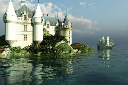 A clipper ship sails past a grand castle. photo