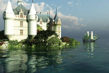 fantasy: A clipper ship sails past a grand castle. Stock Photo