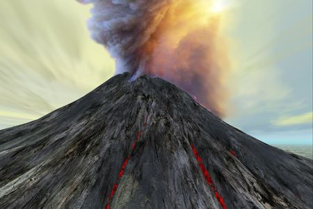 magma: An active volcano belches smoke and ash into the sky.